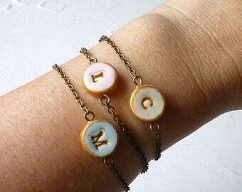 Letter Bracelet  - Petite Bracelet - Girl Bracelet - Dainty personalized bracelet