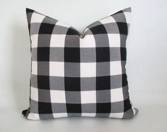 Pillow Cover Buffalo Plaid Black and White Both Sides Zipper Opening New F/W 2017/18