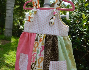 Patchwork Front Knot dress with pockets size 2T
