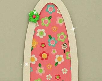 Pink Daisy Fairy Door, Indoor Fairy Door, Skirting Board Fairy Door, Shelf Sitting Fairy Door, Handmade by Jennifer