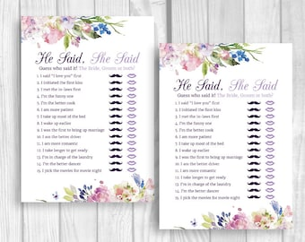 He Said, She Said 5x7 Printable Bridal Shower Couple's Game - Purple and Lavender Watercolor Flowers - Instant Download