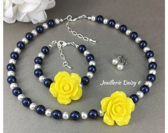 Yellow Flower Girl Jewelry Set Navy Necklace Flower Girl Gift for Her Swarovski Necklace Yellow Necklace Girl Jewelry
