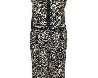 vintage 1990's silk jumpsuit / La Bottega / black ivory / silk jacquard jumpsuit / women's vintage jumpsuit / tag size 12