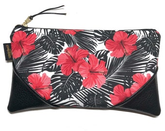 Large Hibiscus & Monstera Zipper Clutch / Zip Pouch with Zipper Pull or Leather Wristlet Strap