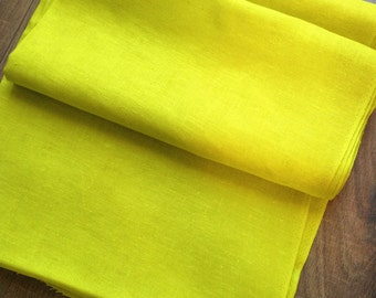 """Gorgeous Chartreuse Color Linen Fabric 36"""" x 4 Yards + 7"""" - vintage linen, linen fabric, chartreuse fabric, chartreuse linen, linen fabric"""