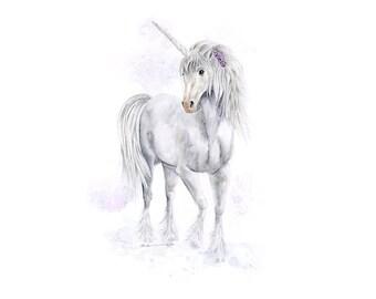 Unicorn Art Print - Watercolor Unicorn Painting - Unicorn Nursery Decor - Kids Wall Art - Unicorn Decor - Girls Room Decor - Fantasy Art