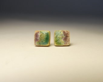 square ear studs, round geometric post earrings , nickel free pins, jewelry for alergic, ceramic earrings, ceramic jewelry
