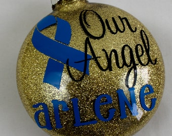 Colon cancer Awareness Ribbon - Personalized Christmas Ornament