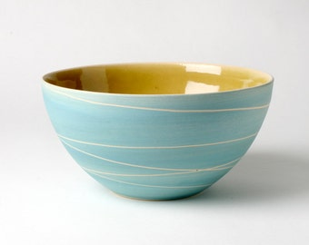 Hand-pottered cereal bowl in turquoise gifts for you