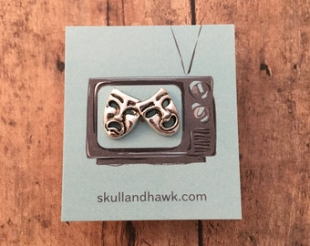 Drama mask Tie Tack / Lapel Pin - Silver Tone Metal - Theater - Theatre - Tack Backing with Clutch Clasp