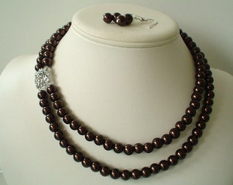 Two Strand Chocolate Brown Pearl with Square Rhinestone Pendant Beaded Necklace and Earring Set    Great Brides or Bridesmaid Gifts