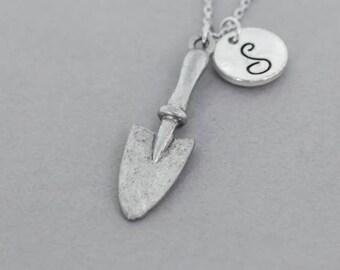 silver hand trowel, gardening necklace, trowel pendant, jewelry gift, gardener necklace, trowel jewelry, gardener gift