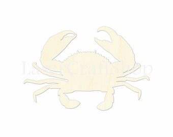 """2"""" - 34"""" Sea Crab Wooden Cutout Shape, Silhouette, Gift Tags Ornaments Laser Cut Birch Wood   #1080"""