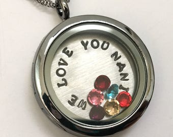 We Love You Nani - Gunmetal Rhinestone Floating Charm Locket - Memory Locket - Custom Hand Stamped Gift