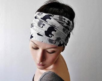 ELEPHANT Print Head Scarf, Elephant Print Headband, Elephant Headbands For Women, Jersey Yoga Headband, Elephant Lovers Hair Accessories