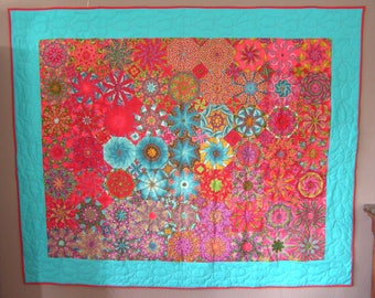 Red and blue patchwork large