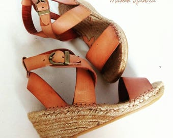 Natural Jute sandals. Wedges Esparto. Espadrille Natural Leather. Wedge Espadrille half 6 cm. Espadrille Wedge. Sandals MoD. Artys_mediacuña