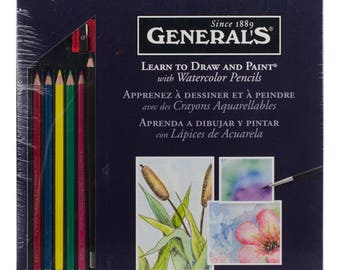 Watercolor Pencils Complete Kit w/ Lessons and Technique Book - Beginners Set -  FANTASTIC GIFT!