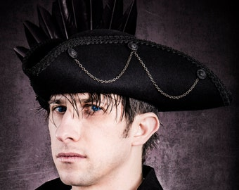 Gothic Black Raven Tricorn pirate hat