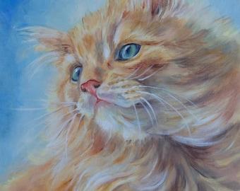 Custom CAT PORTRAIT Oil PAINTING on canvas Hand painted cute kitten portrait Framed Fine Art Original gift for Cat Lover Pet portrait