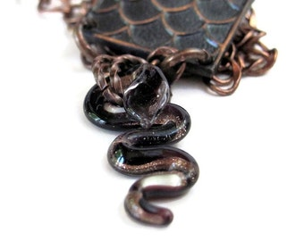 Unusual necklaces, black snake necklace DAMBALLAH  voodoo serpent necklace, assemblage necklace, St. Patrick, vodou hoodoo, snake jewelry