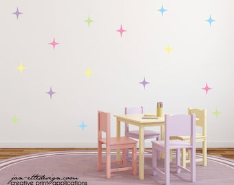 Girl Wall Decals,Star Wall Stickers,Sparkle Star Wall Decals