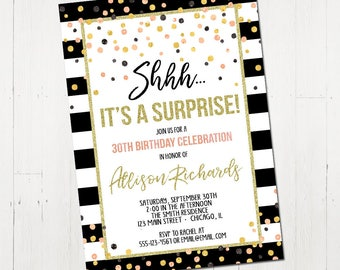 Surprise birthday invitation, shhh it's a surprise, confetti invitation, rose gold, 30th 40th 50th 60th 70th birthday, printable or printed