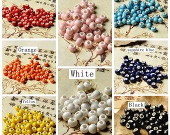 50pcs 6mm Round Porcelain Ceramic Beads (CAB-PC-1-16)