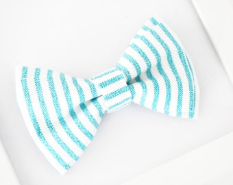 Blue White Stripe Bow Tie, Boys Bow Tie, Baby Toddler Boy Bow Tie, Wedding Bow Tie, Ring Bearer Bow Tie, Blue Bow Tie. Prom Bow Tie