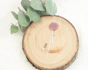 Pink and green lace pendant necklace - 925 silver