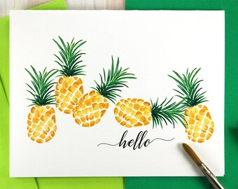 Personalized Stationery Set, New Home Housewarming Gift Set, Gold Pineapple Stationary Set, Hello Stationary, Pineapple Wedding Set of 10