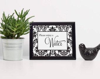 Damask Water Sign, Beverage Sign, Wedding Water Sign, Beach Wedding Ideas, Wedding Water Bottle, Water Bottles Sign, Summer Wedding Ideas