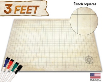 """Battle Grid Game Mat - 36""""X24"""" - Dnd Game Map - RPG Dungeons and Dragons Gaming Play Map Tiles - Reusable Miniature Figure Board Games"""