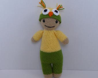 Owl doll, baby doll, baby owl doll, baby doll in owl outfit, amigurumi owl doll, crochet baby owl doll, big head baby doll, baby shower gift