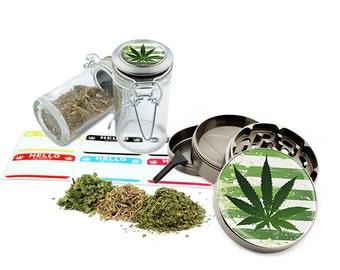 """Leaf Design - 2.5"""" Zinc Alloy Grinder & 75ml Locking Top Glass Jar Combo Gift Set Item # G50-8715-3"""
