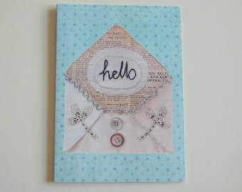 Hello - greeting card digital print of hand-embroidery writing on envelope - anytime card