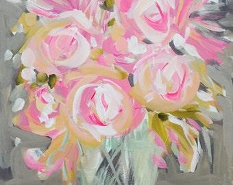 Impressionist Art Acrylic PRINT Art Impressionism Roses Abstract Floral Flower Pink Print  Impressionist Art