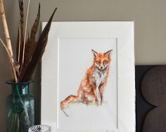 Fox print, Watercolour Fox Wall Art, Mr Fox, Fox Illustration