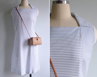 Vintage 70's Nautical Stripe Diamond Neck Collared Shift Dress L or XL