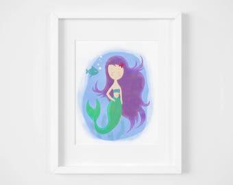 Mermaid nursery wall art, toddler playroom wall decor, kids room art