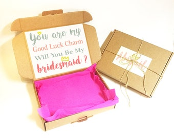 Bridesmaid Proposal Gift Box - Will you be my maid of honor, Flower Girl, Thank you for being my, Matron of Honour, Wedding Box, Kraft Boxes