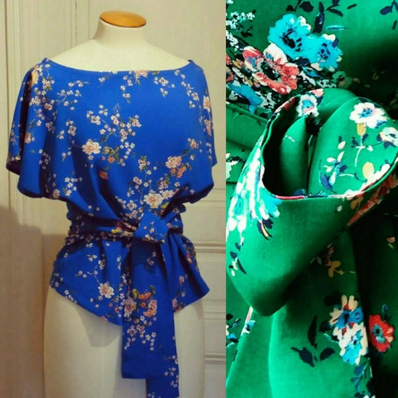 Top was woman blue or green, Japanese cotton fabric flowers of cherry, top with tie neckline, kimono top, cobalt blue printed flowers