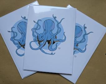 Gift Cards 3 PER PACK Blue Cute Little Octopus