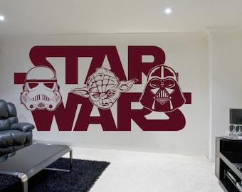 Star Wars Wall Sticker Yoda Darth Vader Vinyl Decal Childrens Room Stencil Gift