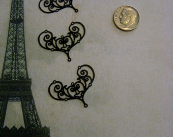 """Plated Brass Filigree Jewelry Finding """"laser lace"""" in Black (4)"""