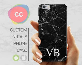 iPhone 7 Case - Black Marble Initial Custom - iPhone 6 Case - iPhone 5S Cases - Samsung S8 Case - Samsung S7 Case - iPhone 8 Cases - PC-245