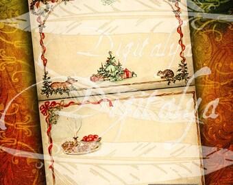 En attente pour SANTA encadré cartes 7 x 5 po sur du papier vieilli avec chat, chien, arbre de Noël - 3 feuilles de Collage numérique - téléchargement immédiat