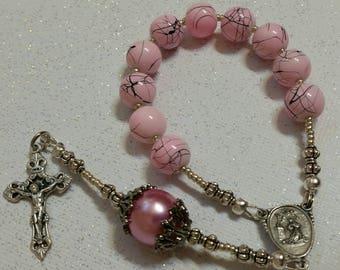 Pink Splatter Beaded St Rita Single Decade Rosary