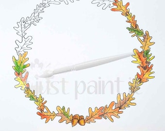 Fall Oak Leaf Wreath Coloring Page Fall Coloring Page Instant Download Fall Printable
