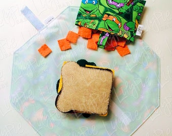 Reusable Sandwich Wrap & Placemat (w/Optional Reusable Snack Bag) - TMNT - NINJA TURTLE print - ECOfriendly - Food Safe - Dishwasher Safe